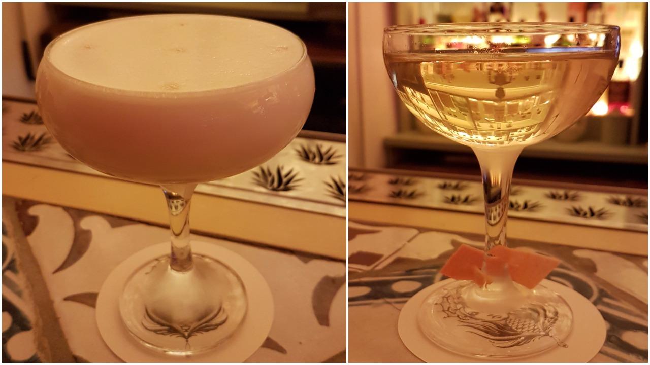 Left: Mala Education (mezcal, grapefruit, agave honey, rhubarb, habanero bitters, egg white); Right: Martini de Los Altos (tequila ocho, vermouth del professore, bergamotto Quaglia, habanero bitter, orange bitter)