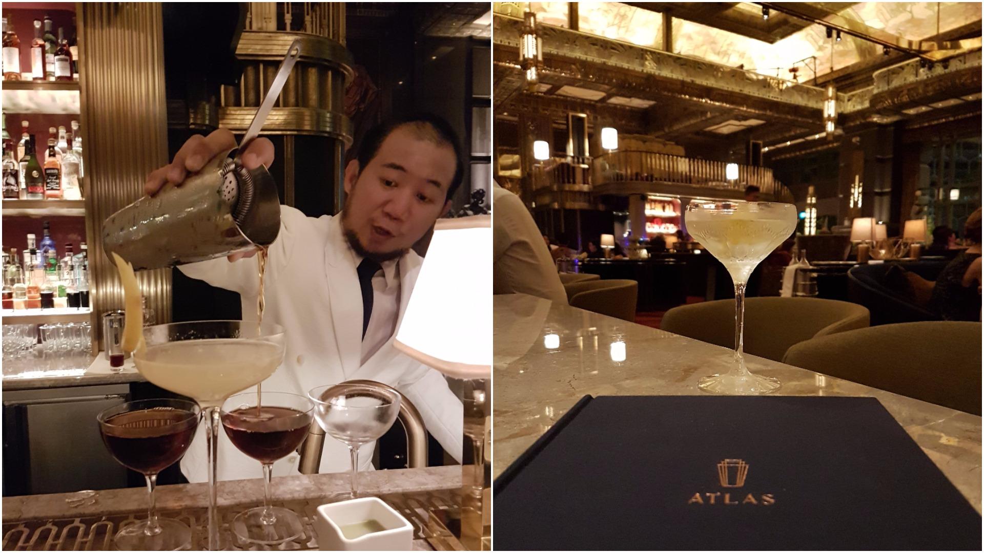 "Left: Sim prepares a ""Mancinez"" cocktail, Right: ATLAS martini and the beautiful menu"