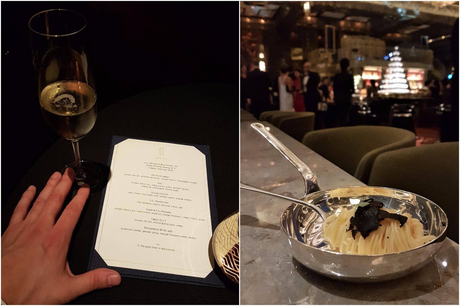 Left: gala menu, Right: spaghetti and truffle