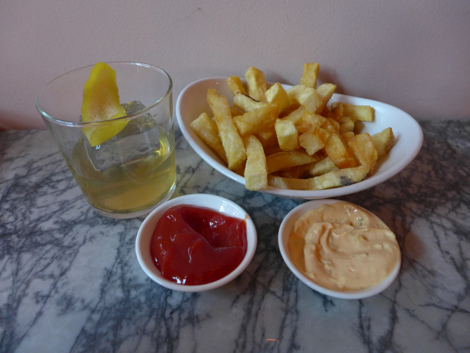 Biggie and Tupac cocktail and tasty fries at Trick Dog