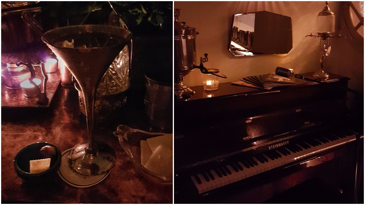 Left: Gibson martini, Right: The piano at Marian Beke's The Gibson