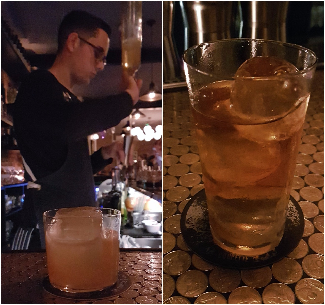 """Left: Dan Schofield with Straight Out Bethnal (Trois Rivieres Ambre, Suze, Lime, Cane & Molasses, Rouge bitter); Right: The signature """"Apples"""" drink"""