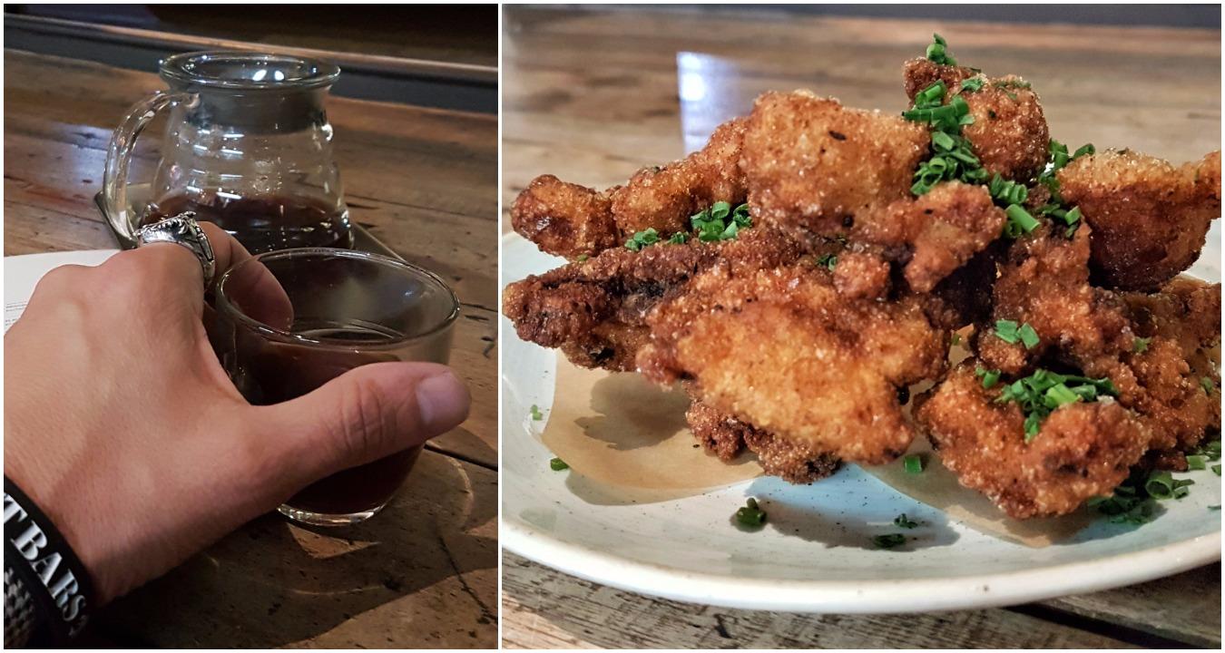Left: Aeropress coffee; Right: Buttermilk fried chicken
