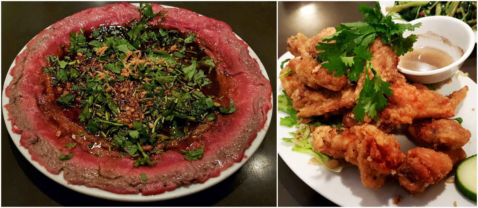 Marinated butter beef and Deep fried chicken wings