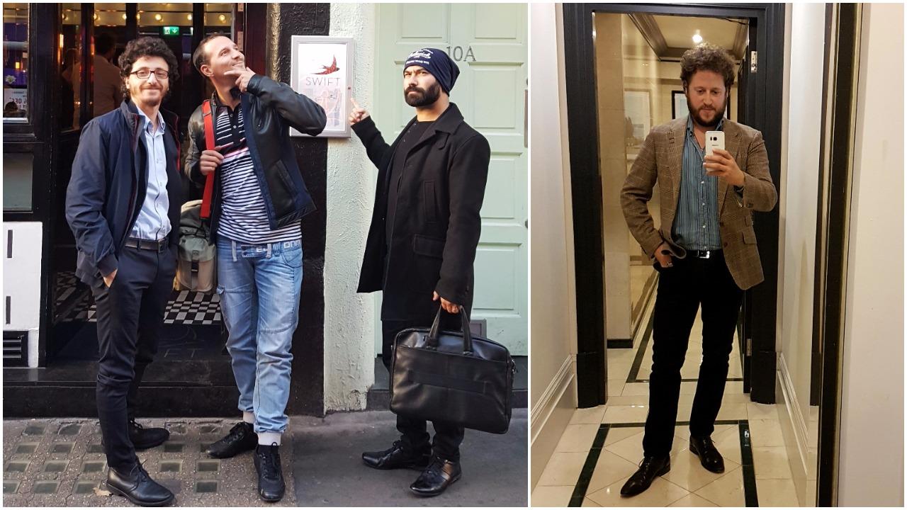 Giampiero, Mauro e Diego davanti allo Swift; Shane vestito da blogger Canadese