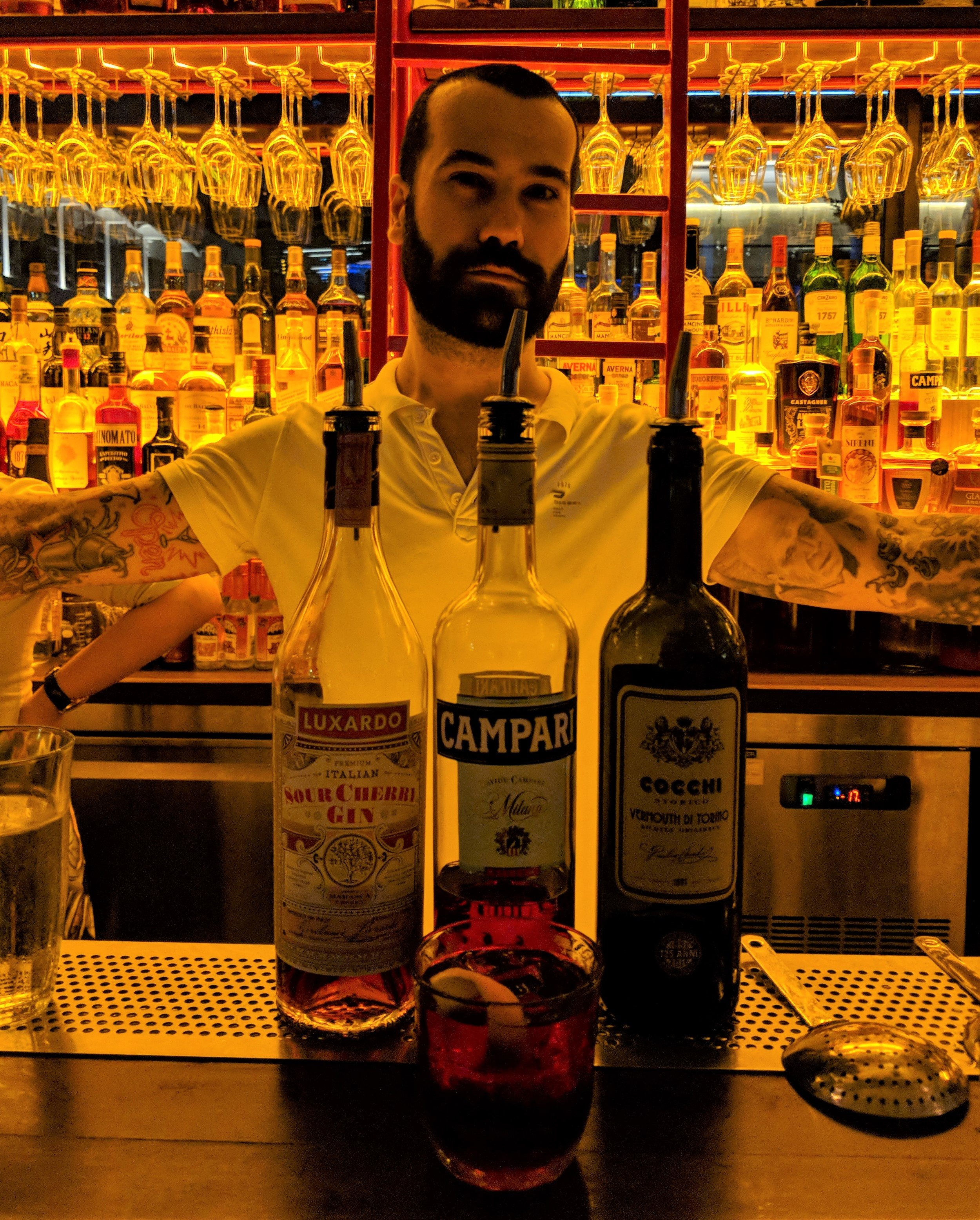 Job done! The last drink is a Sour cherry Negroni with Luxardo sour cherry gin, Campari bitter, and Cocchi Vermouth di Torino