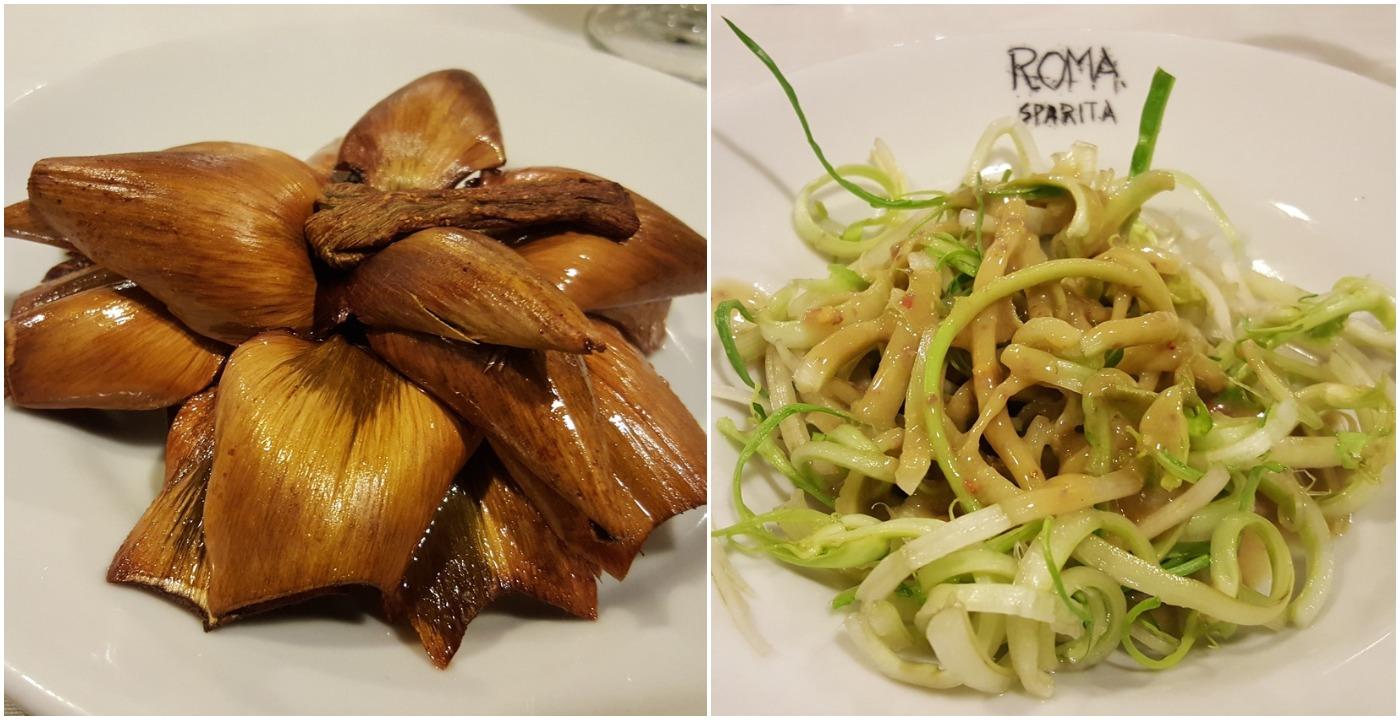 Left: Carciofo alla Giudia, Right: Puntarelle in anchovy sauce