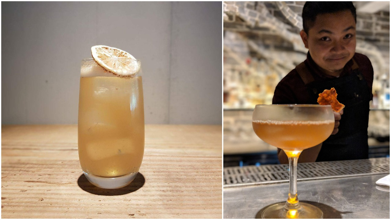 Left: Meadow, Right:Fique with Garden (Rutte celery gin, Fino sherry, House spiced tomato water)