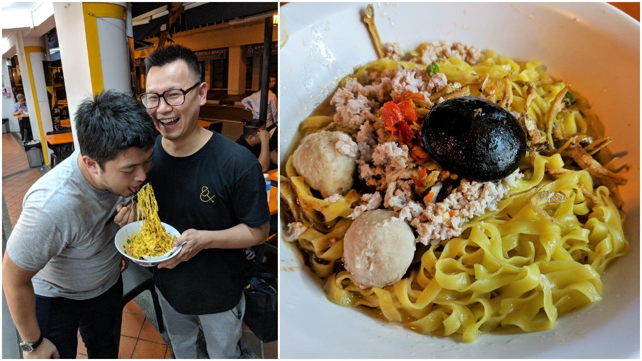 Left: David feeding Jericson, Right: gweilo variation of bak chor mee wtih broad noodle