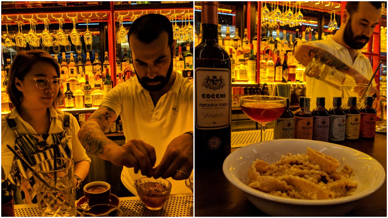 """Left: Cherrie and guest bartender Diego, Right: Diego prepares a drink for """"Negroni Affair"""" during SGCF 2018"""