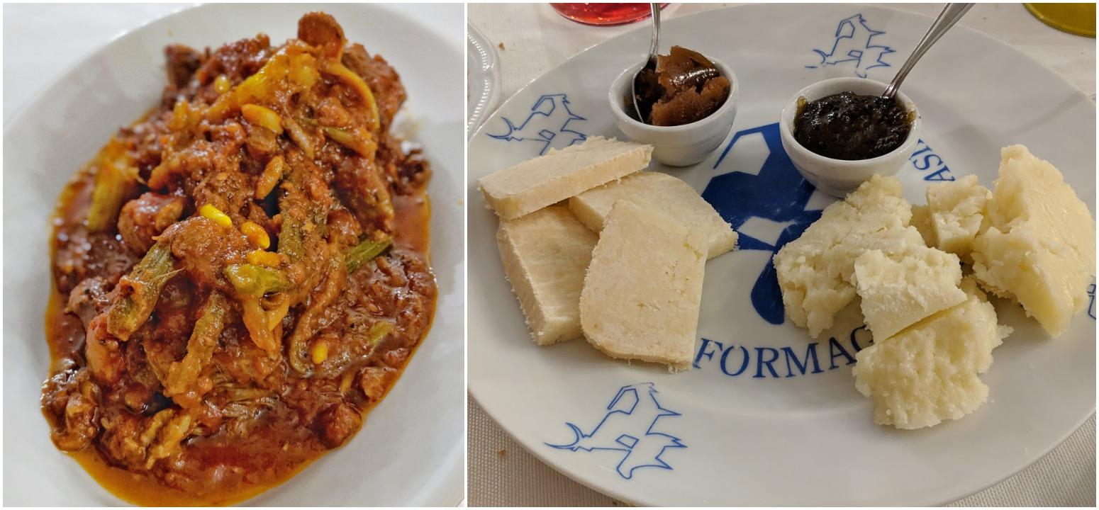 Left: Coda alla Vaccinara, Right: Roman cheeses