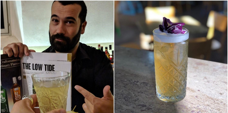 """Diego Ferrari con l'articolo """"The Low Tide"""" sulla rivista Drinks International. Il Cocktail """"Professor Shane"""" low ABV a base di liquore Genziana, limone, e St-Germain."""