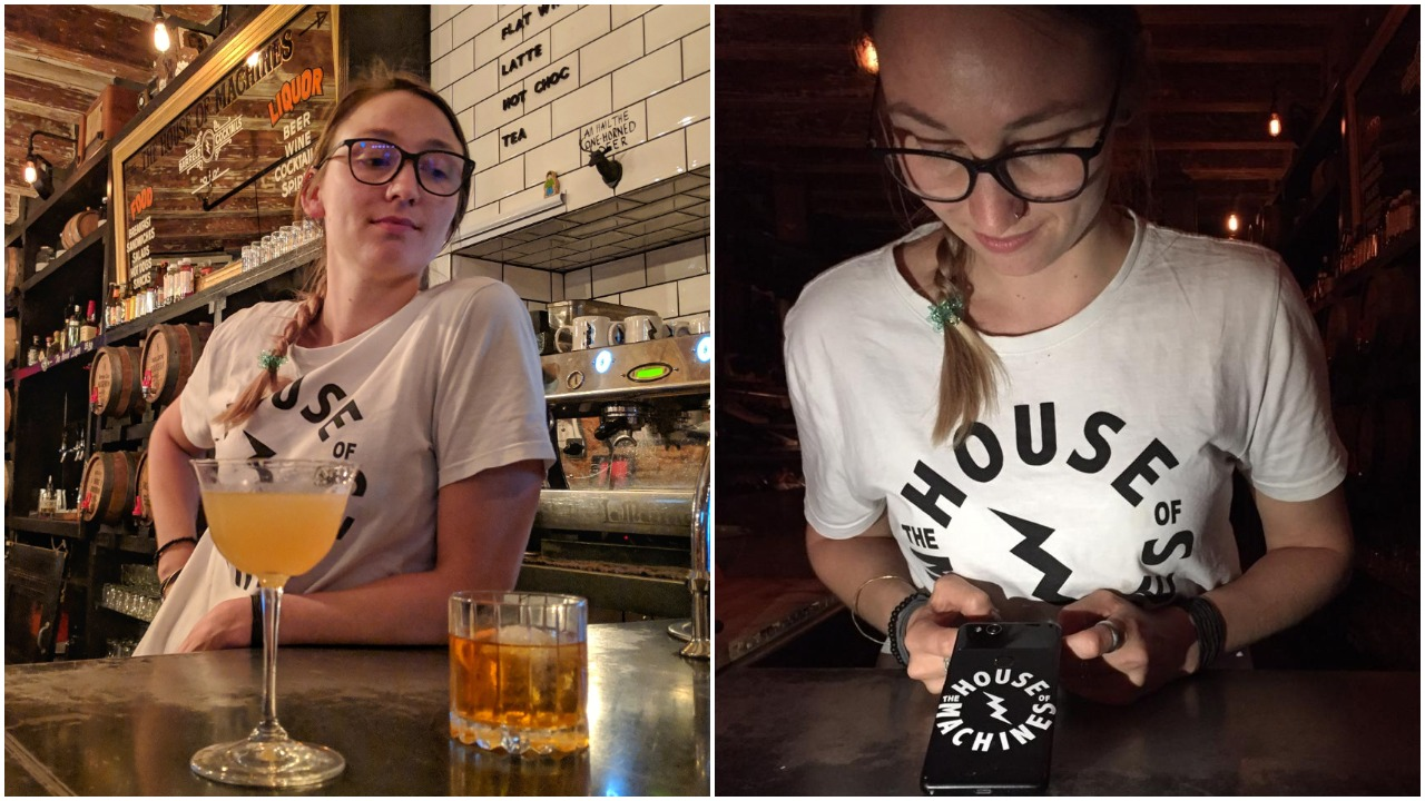 Courtney with a Mount Gay daiquiri and old fashioned; my beautiful House of Machines sticker which incredibly lasted 2 months on my phone