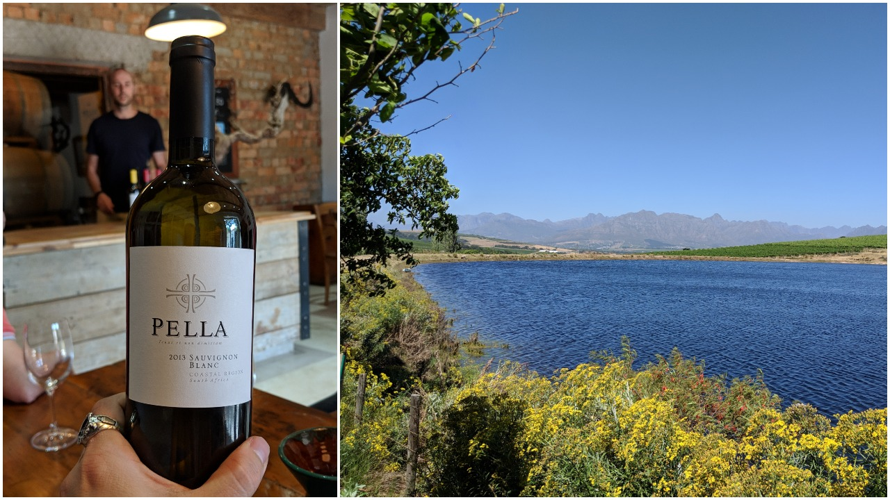 A bottle of Sauvignon Blanc with Kyle in the background; the magical Canettevallei farm