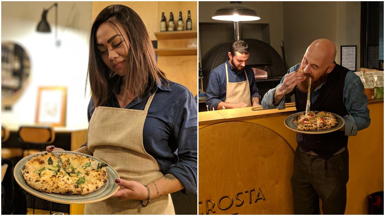 Alessandra  con la pizza all'ananas;  Tucci , pizza model
