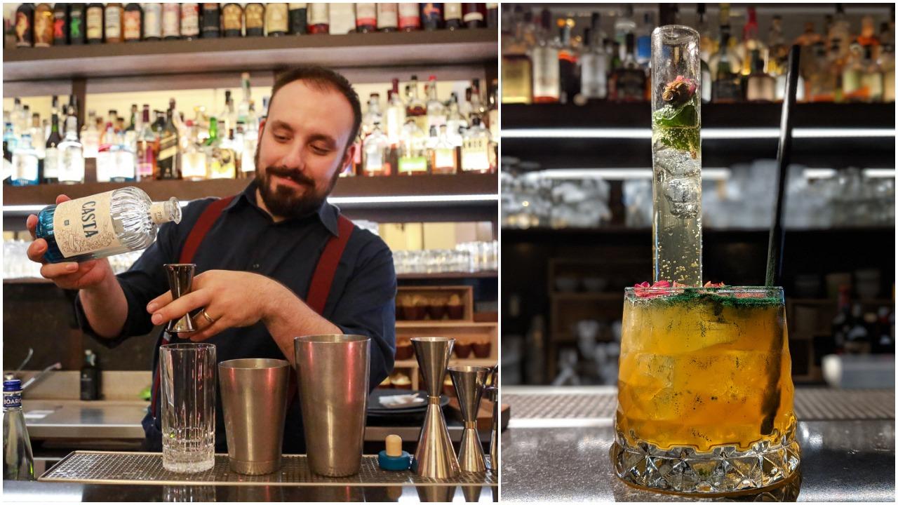 Valerio con uno dei suoi drink magici