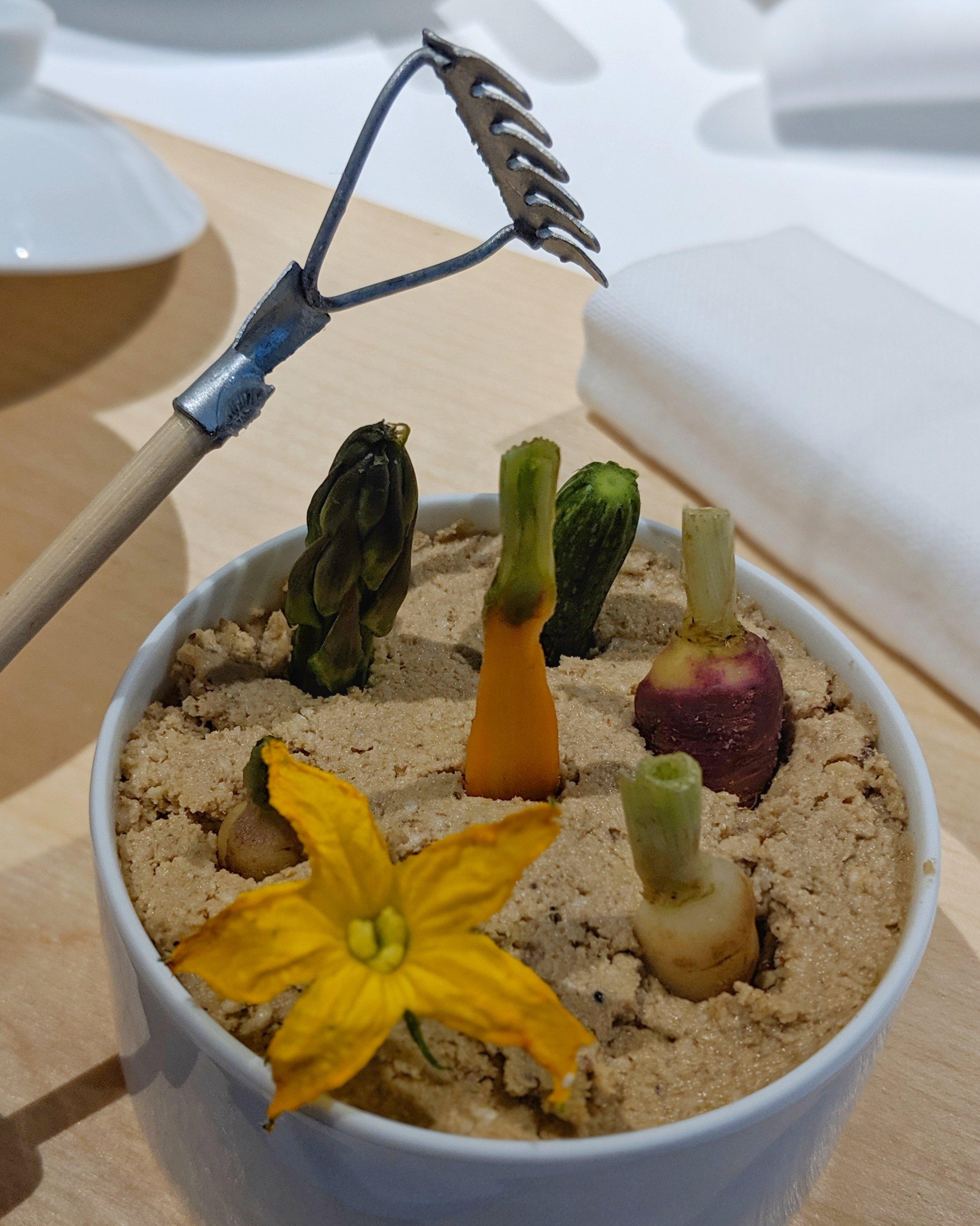 Terrina di nukazuke, verdure pickled e foglie di stagione