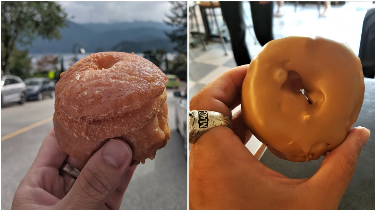 Honey and maple donuts at Honey's in Deep Cove