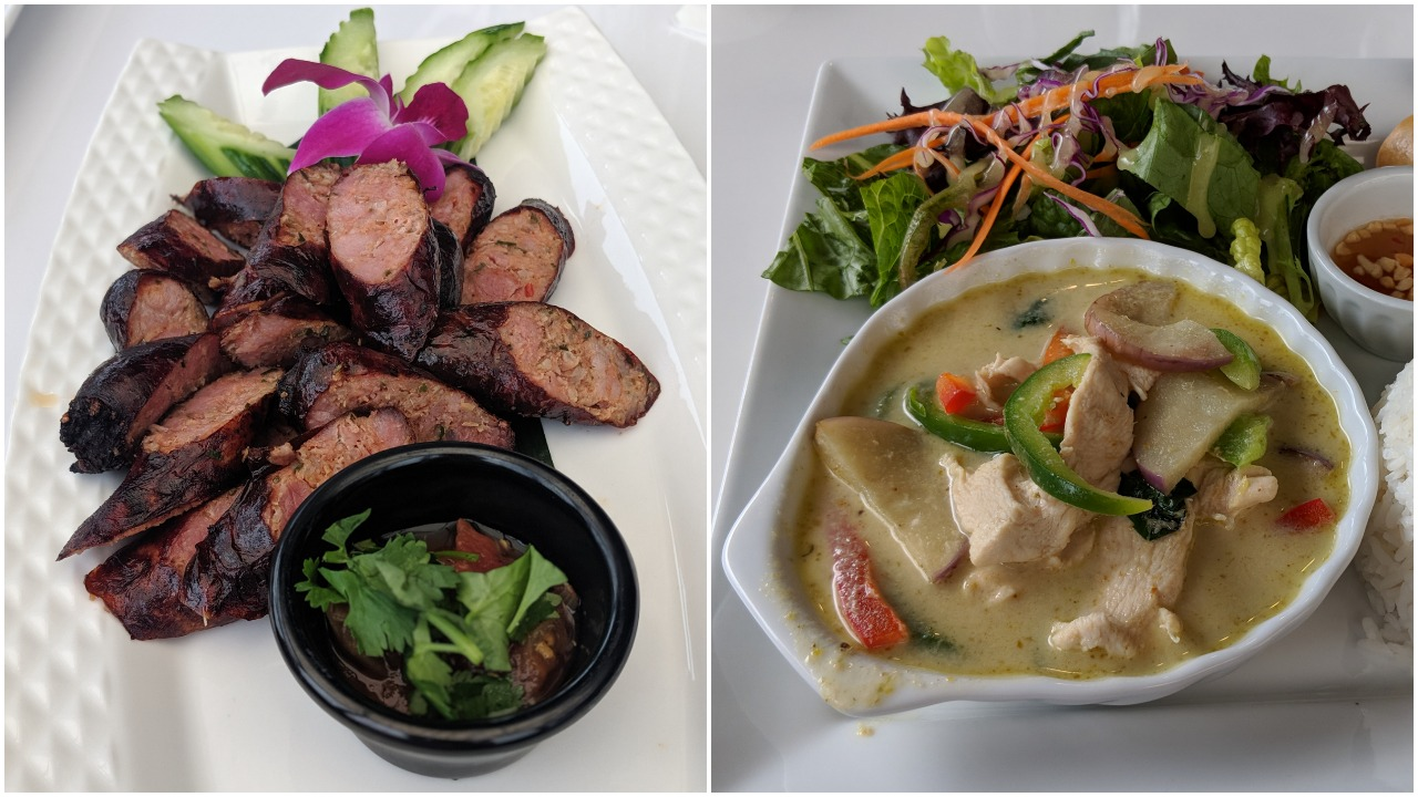 Sai gok and green curry chicken