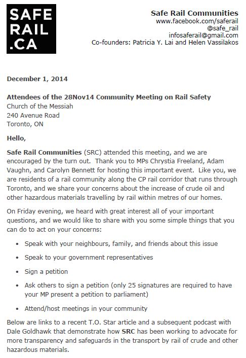 THis is Page Oneof the Communique to Attendees of 28Nov14 Rail Safety Community Meeting. To read more click  HERE .