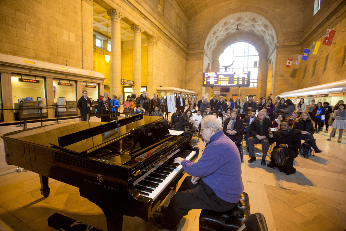 Award-winning Pianist Emanuel Ax performs at Union Station as part of the Pianos in the City initiative on February 4, 2015.