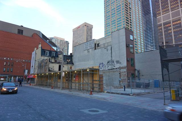 Recently demolished storefronts at the site of 1 Yorkville, image by Craig White
