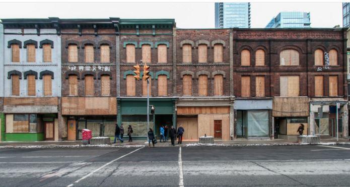 A short stretch of Victorian storefronts along the Mink Mile are being maintained as construction on the  1 Yorkville condo. When the 58-storey tower is complete, these historic shops will once again join the lux retail strip on the Bloor West streetscape.