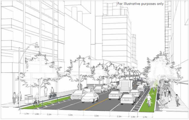 A visualisation of plans for bike lanes on Bloor, image courtesy of the City of Toronto