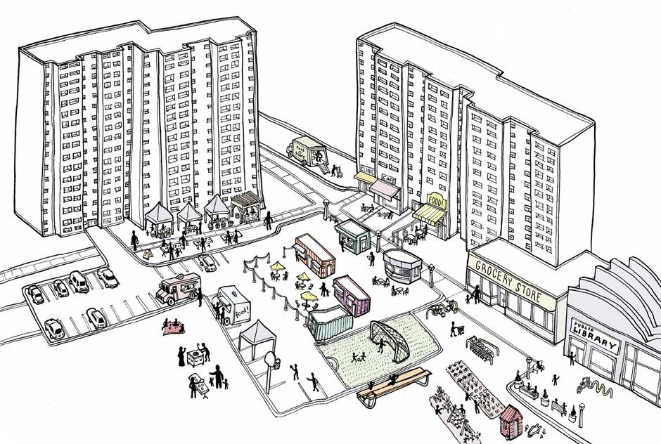 Toronto's new RAC zoning category, by loosening up the rules on tower neighbourhoods, aims to advance social integration and economic development. ILLUSTRATION BY DANIEL ROTSZTAIN
