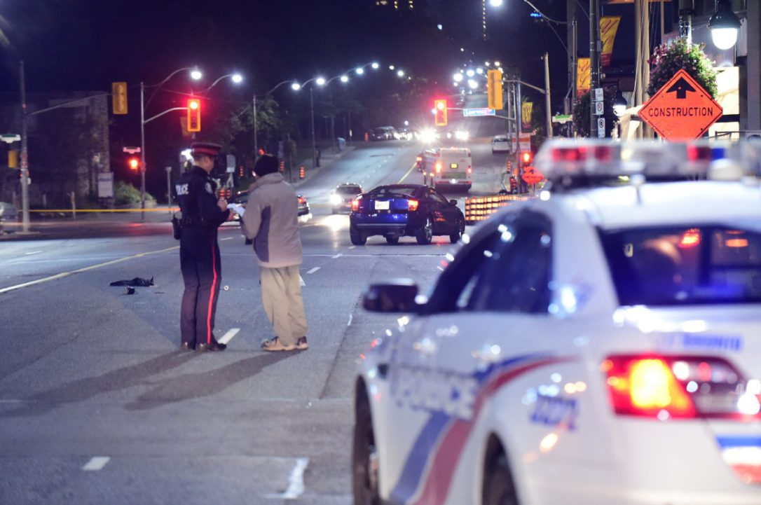 TheStar.com:A person has died and another was seriously injured after being struck by a car on Yonge St. north of Lawrence Ave. early on Oct. 5, 2017. With seven pedestrians killed over the last few days Toronto needs to get serious about making streets safer, even if it means adding more time to driver commutes, Ed Keenan writes.(VICTOR BIRO /SPECIAL TO THE STAR)
