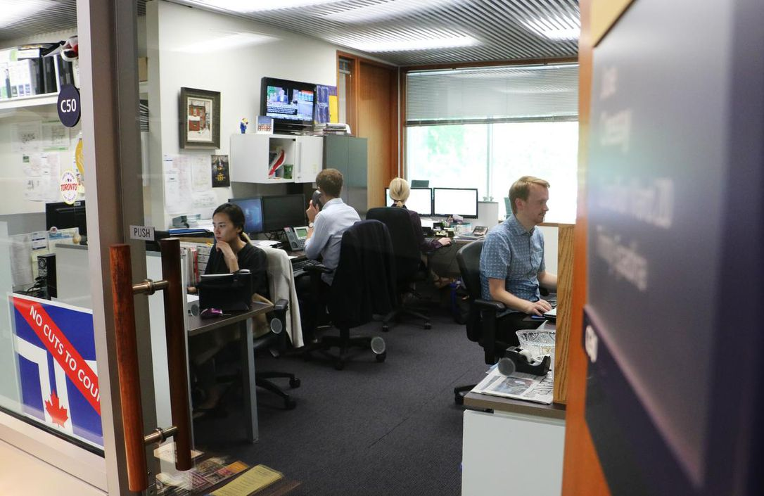 TheStar: Staff in councillors' offices are often the first point of contact for constituents — already fielding hundreds of phone calls and emails daily. Pictured here are members of Councillor Joe Cressy's staff working in a roughly 700-square-foot space ahead of the Oct. 22 election. (JENNIFER PAGLIARO / TORONTO STAR FILE PHOTO)