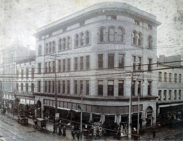 A late 19th-century photograph showing 2 Queen St. W. when it was the Philip Jamieson Clothier shop is the best guide available to the heritage experts restoring the façade.