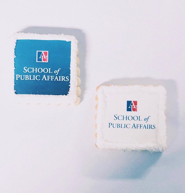 Our scalloped square cookies, customized for @americanuniversity Order your own cookies today!! 💻 Website: districtdesserts.com ✉️ Email: orders@districtdesserts.com