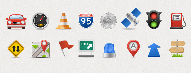 On-Road Navigation Icon Set