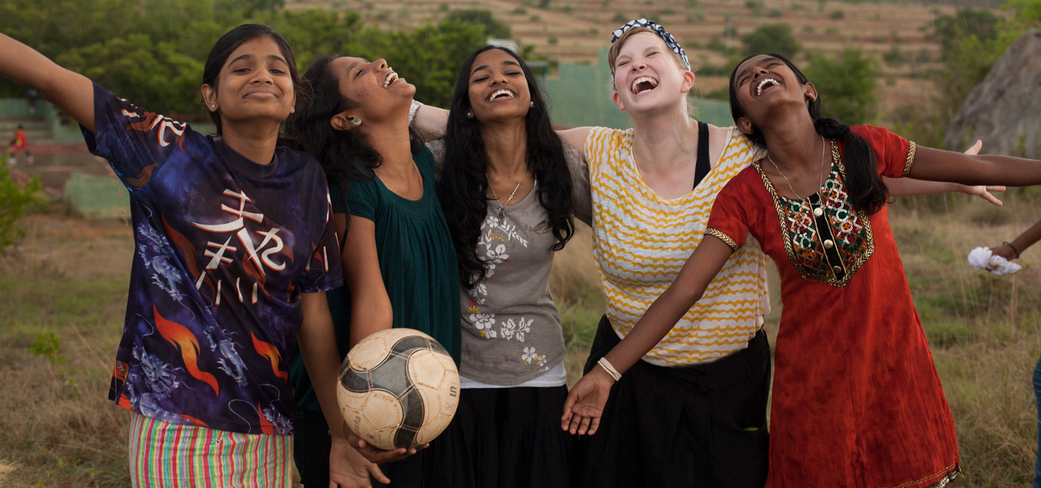 In India (second from right), with Preetha, Pushpa, Jancy and Prathibha, while shooting at Shanti Bhavan Children's Project! (Photo by Shashi Shekhar Rajannah)