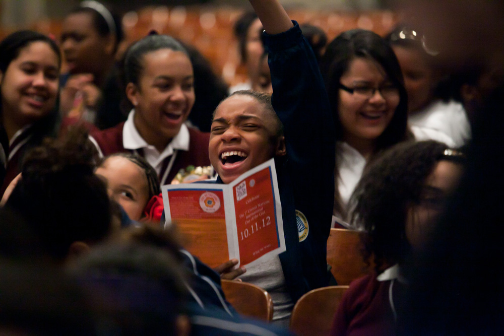 The Young Women's Leadership School of Brooklyn and She's the First celebrate the first United Nations' International Day of the Girl.