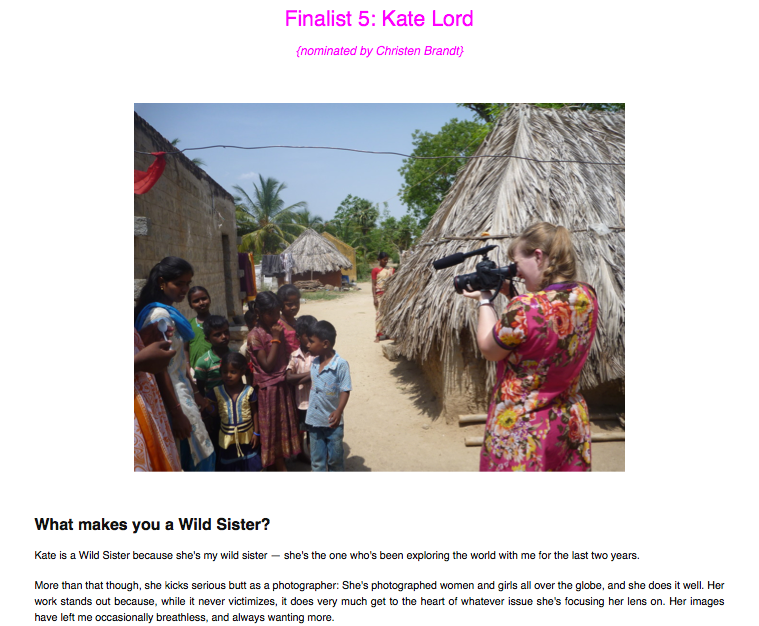 Screen shot from the Wild Sister finalist page - with a photo of me shooting in India! (photo by Christen Brandt)