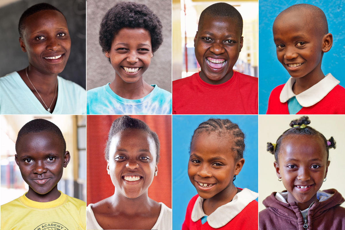 Clockwise from top left: Evalyne, Emuye, Bess, Makesh, Tsion, Mbithe, Magdalene and Winnie.