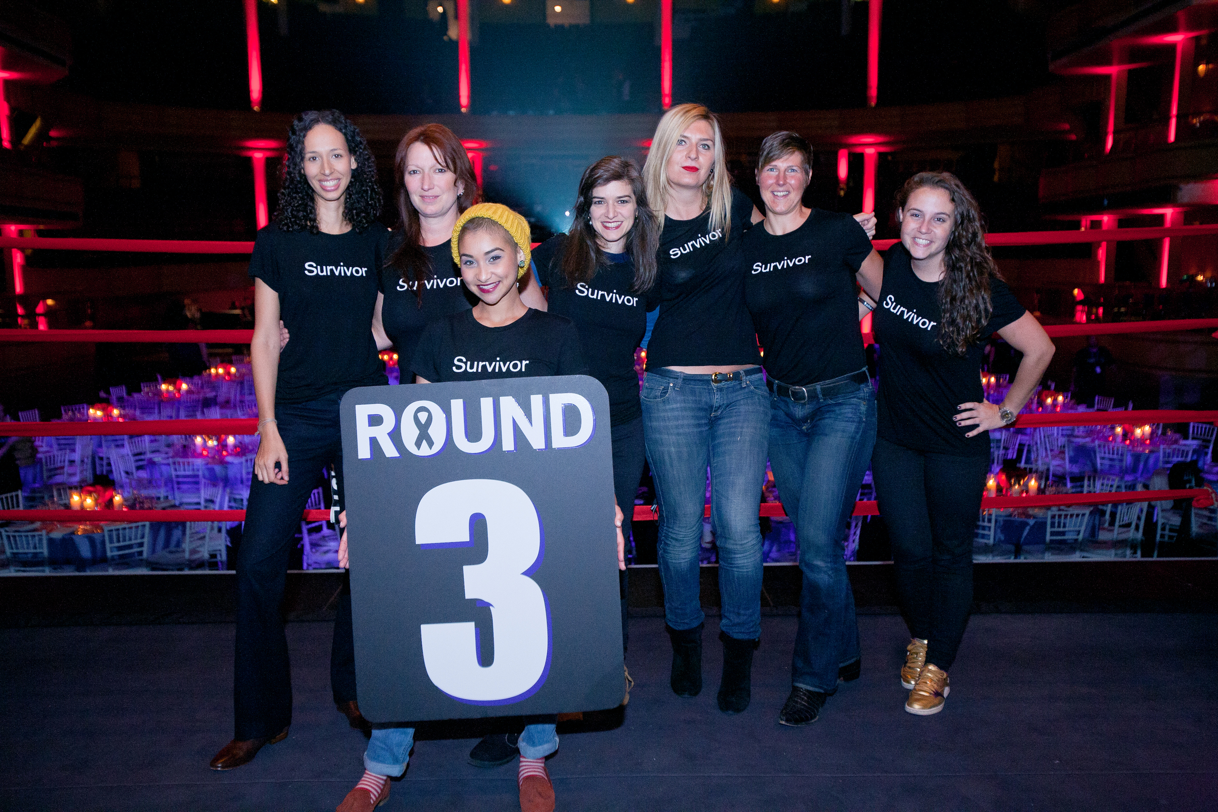 Cancer survivors acted as the night's ring girls, announcing each round. 