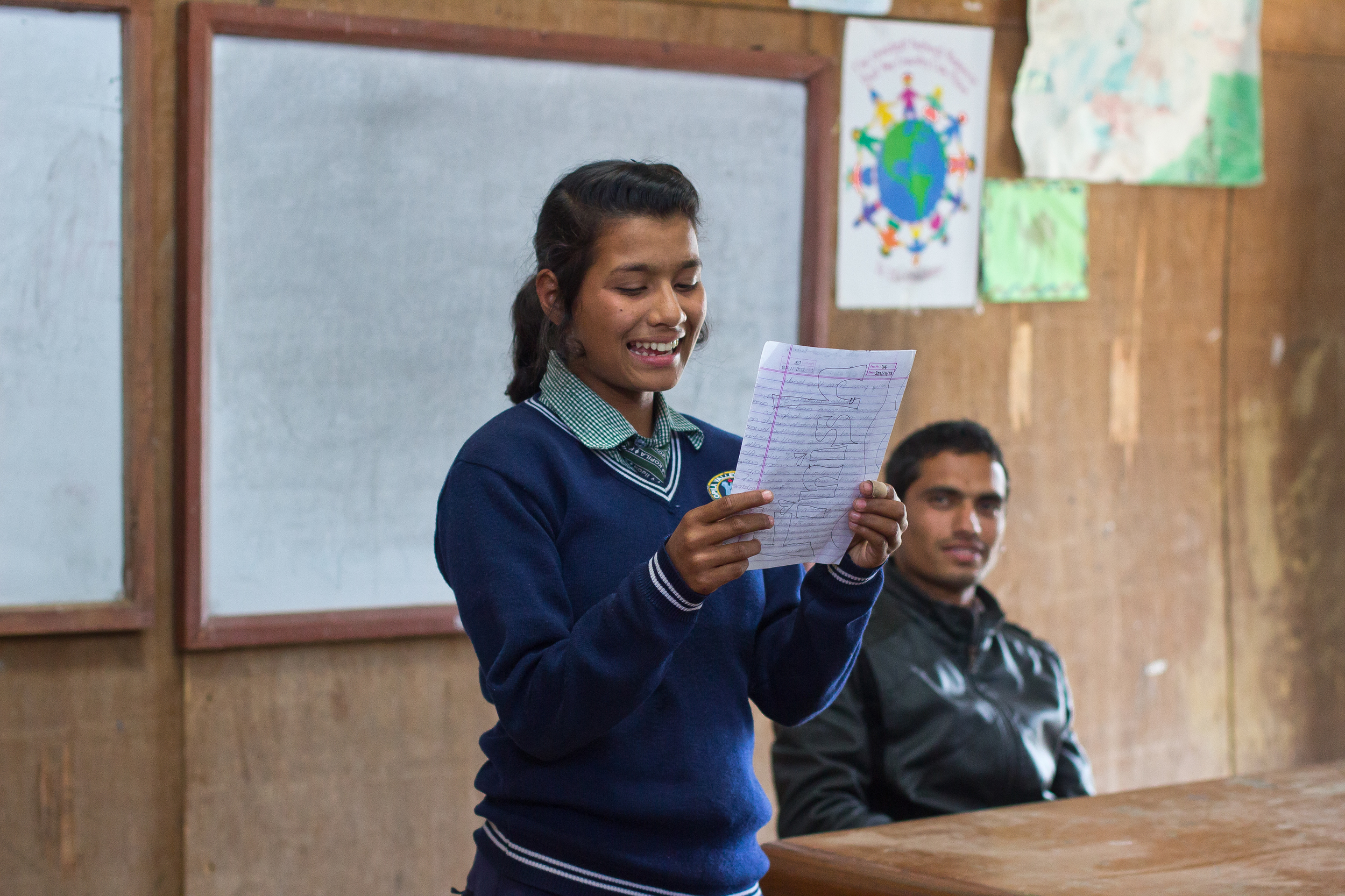 She's the First Scholar Kamala S. presents to her eighth grade class in Nepal, March 2015. (photo by Kate Lord)