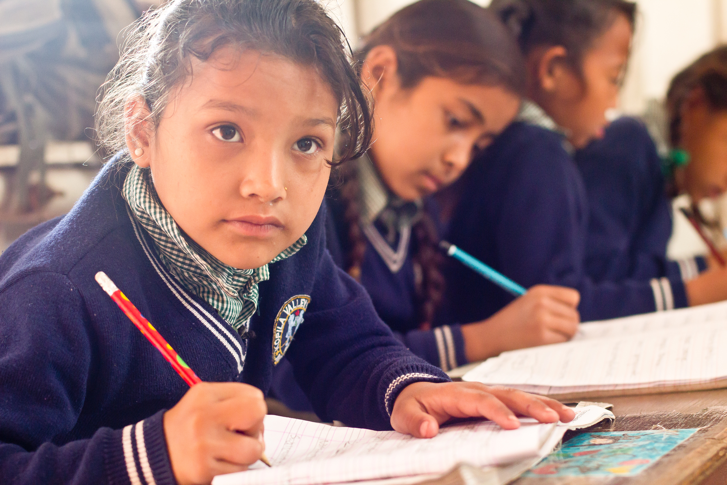She's the First Scholar Sarita S. concentrates on her lesson in her third grade class in Nepal, March 2015. (photo by Kate Lord)