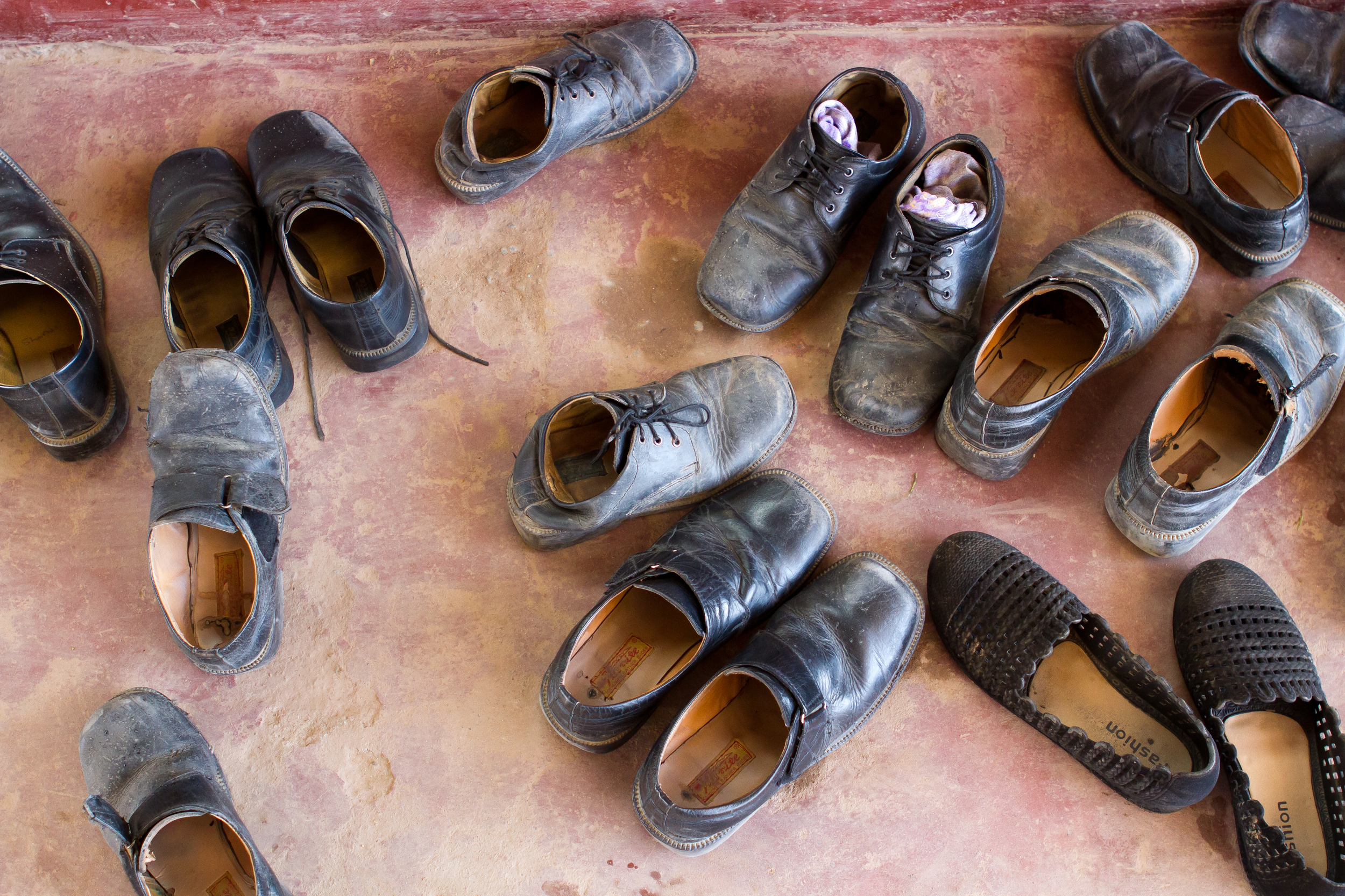 Students' shoes in Nepal 2015. (photo by Kate Lord)