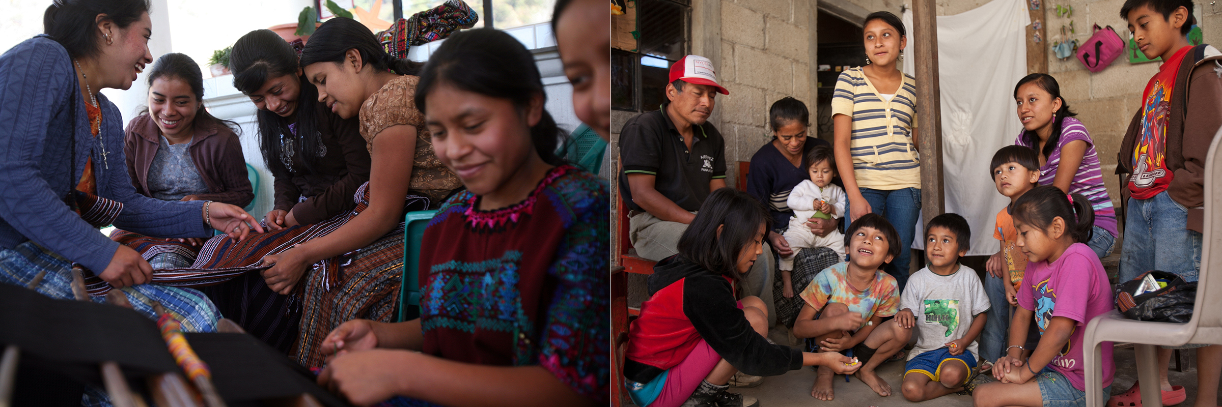 Left: Girls show one another the different types of weaving from their different villages during a mentoring session. // Right: Luz, second from left, with her husband and their nine children in their home in Panajachel, Guatemala.