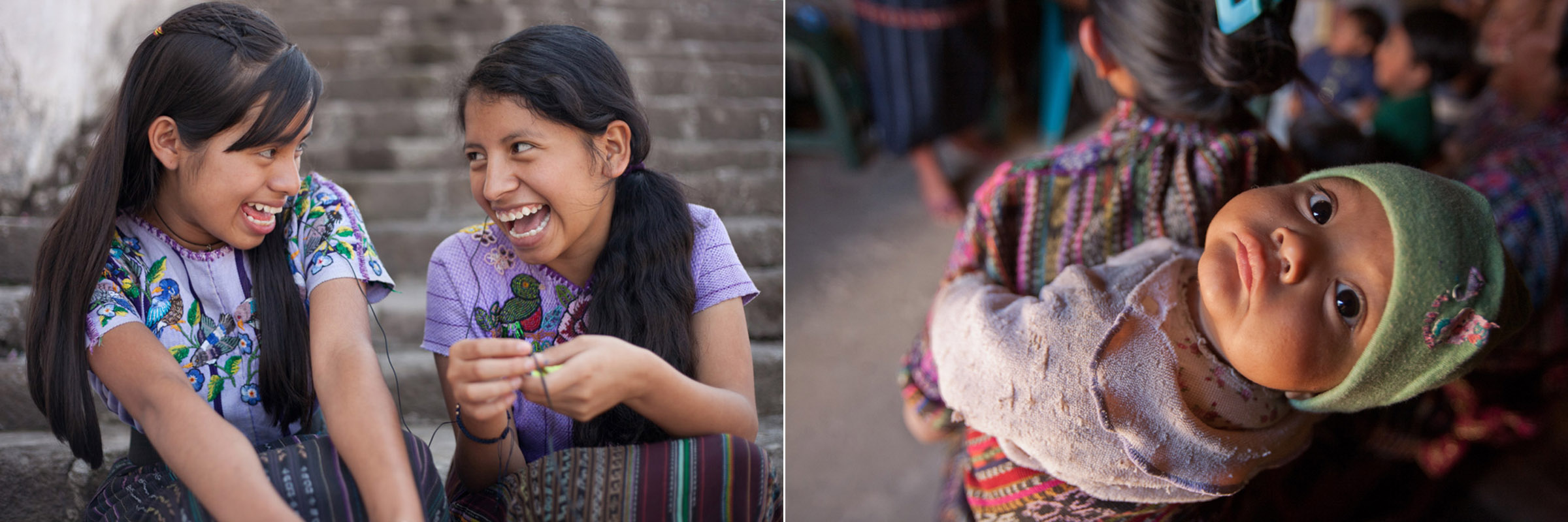 Left: Leticia and Lisette share headphones and listen to music in the town square after a mentorship session in Santiago Atitlan. // Right: An infant is strapped to the back of her mother in their home in Solola, Guatemala. The poorest 20% of Guatemalan women have an average of 8 children.