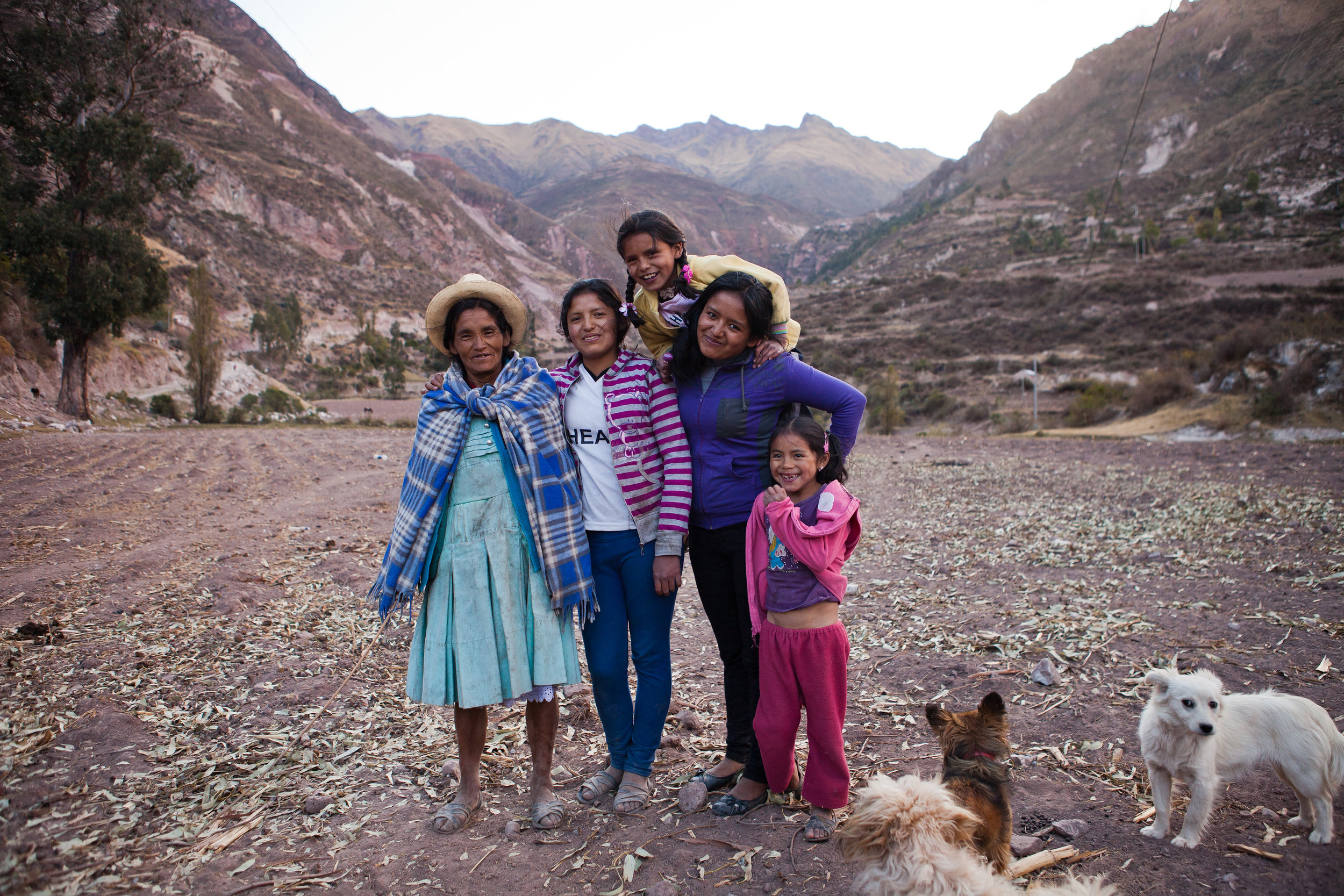 She's the First Scholar Nohemi (second from left) poses with her mother and sisters near their home in Peru.