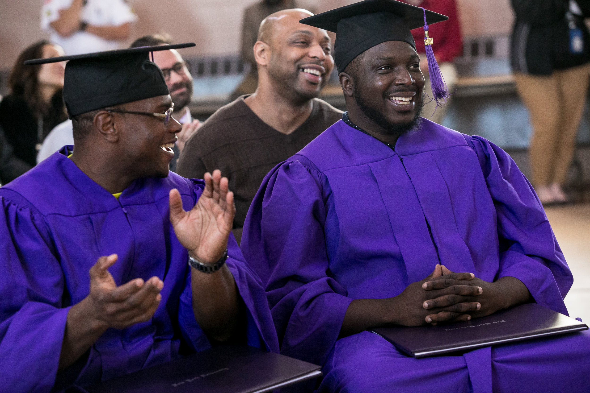 """Ryan, right, also returned to Wallkill for graduation after his release.""""We started in the program together, we're going to graduate together, we wanted to go out right,"""" he said to a  Washington Square News  reporter."""
