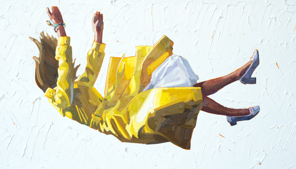 Kelly Reemtsen / Slipped, 2013 / oil on panel / 30 x 60 inches