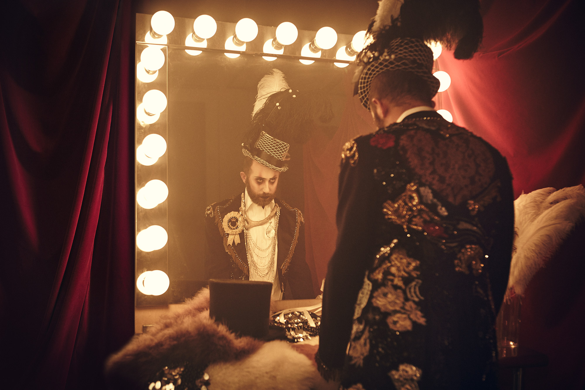 Top Hat with Feathers- Machine Dazzle, Horn and Crystal Necklace- Wren Britton for Purevile, Bejeweled Tailcoat- Elena Kanagy Loux