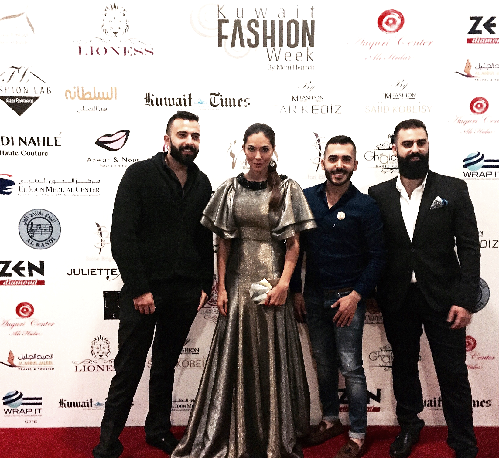 Image by Anna Maria Sandegren.From Left: Patrik Basil, Anna Maria Sandegren (in Lioness Couture), Fadi Seklawi, and Elie Abou