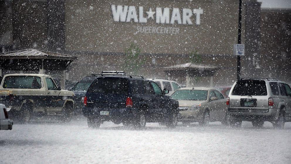 Hail Damage in parking lot